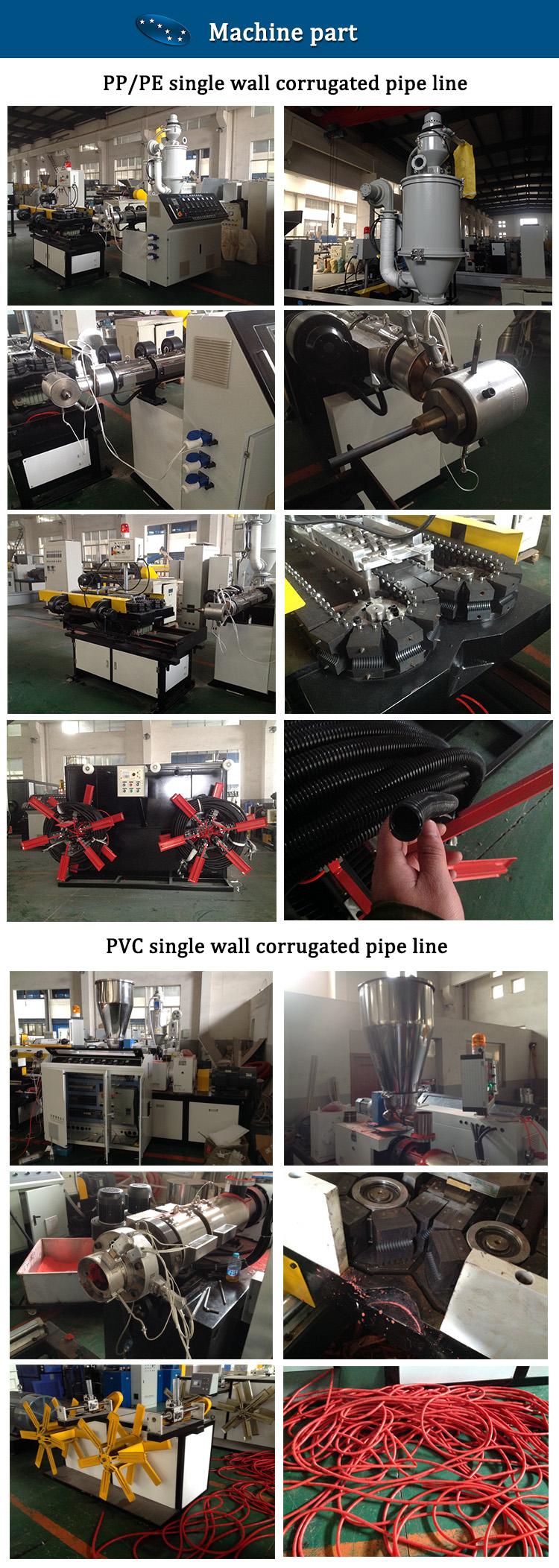 PP PE PVC单壁波纹管产线机器组成展示